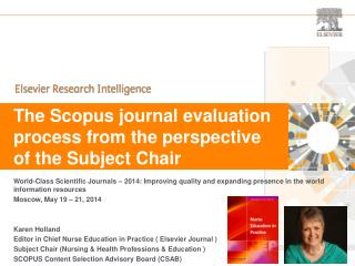 The Scopus journal evaluation process from the perspective of the Subject Chair