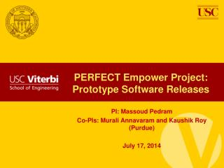 PERFECT Empower  Project: Prototype Software Releases