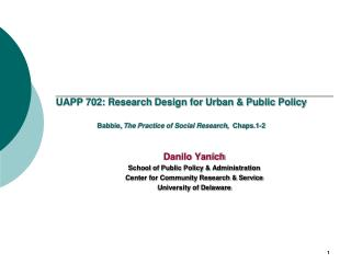 Danilo Yanich School of Public Policy & Administration Center for Community Research & Service