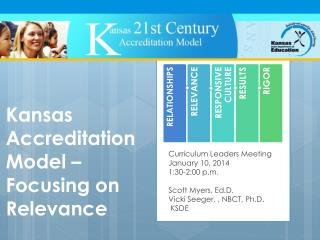 Kansas  Accreditation  Model –  Focusing on Relevance