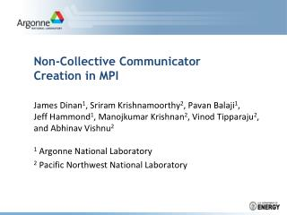 Non-Collective Communicator Creation in MPI