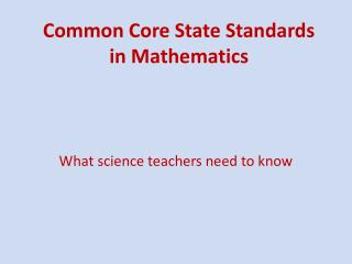 Common Core State Standards in Mathematics