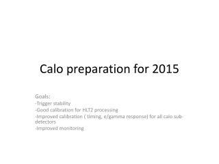 Calo  preparation  for 2015