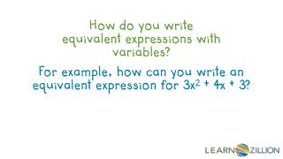 How do you write equivalent expressions with variables?