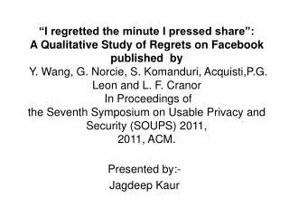 Presented by:- Jagdeep Kaur