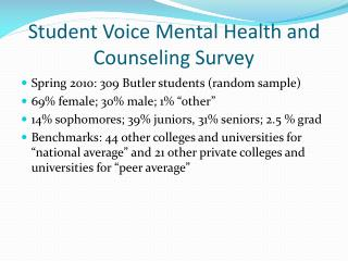 Student Voice Mental Health and Counseling Survey