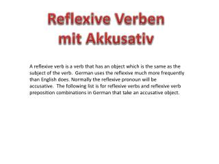 Reflexive  Verben mit Akkusativ