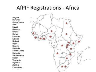 AfPIF  Registrations  - Africa