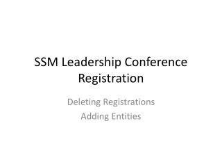 SSM Leadership Conference Registration