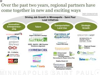 Over the past two years, regional partners have come together in new and exciting ways