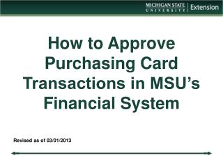 How to Approve Purchasing Card Transactions in MSU's Financial System