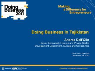Doing Business in Tajikistan