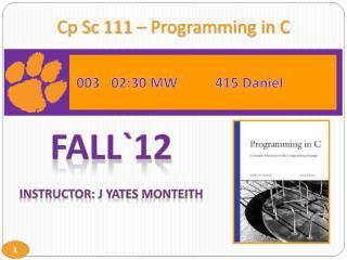 Cp Sc 111 – Programming in C