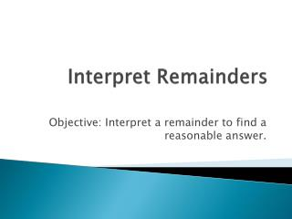 Interpret Remainders