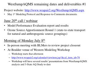 WestJumpAQMS remaining dates and deliverables #1
