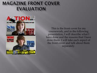 Magazine Front Cover Evaluation