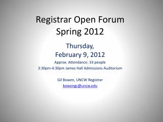 Registrar Open Forum Spring 2012