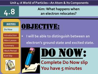 Objective: I will be able to distinguish between an electron's ground state and excited state.