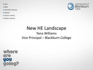 New HE Landscape Yana Williams Vice Principal – Blackburn College