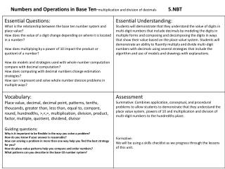 Numbers and Operations in Base Ten - multiplication and division of decimals 5.NBT