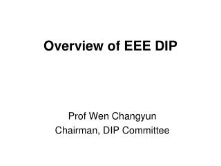 Overview of EEE DIP
