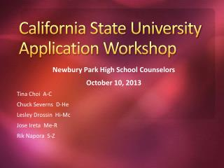 California State University Application Workshop