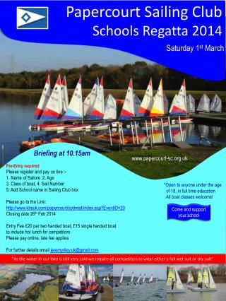 Papercourt Sailing Club Schools  Regatta 2014