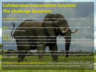 Collaborative Conservation Solutions The Challenge Questions