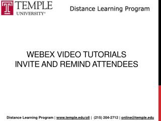 Webex  Video Tutorials  Invite and remind attendees