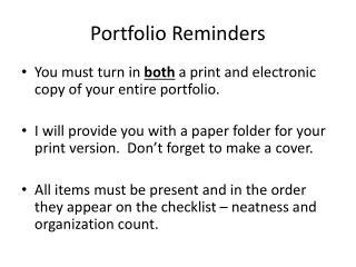 Portfolio Reminders