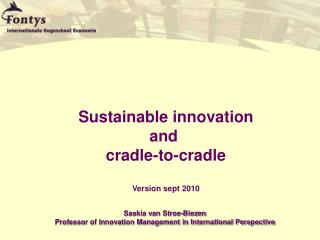 Sustainable innovation and  cradle-to-cradle Version sept  2010