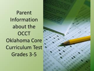 Parent Information about the OCCT Oklahoma Core Curriculum Test Grades 3-5
