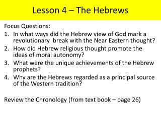 Lesson 4 – The Hebrews
