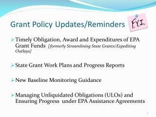 Grant Policy Updates/Reminders