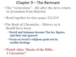 Chapter 9 – The Remnant