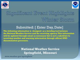 Significant Event Highlights Winter Storm