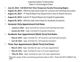 Important Dates To Remember Dates in Chronological Order