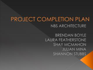 PROJECT COMPLETION PLAN