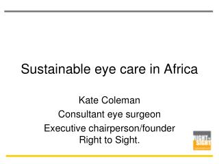 Sustainable eye care in Africa