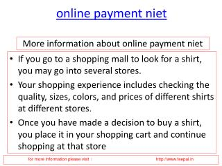 Now you can also pay your fee online payment niet