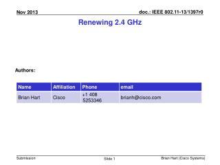 Renewing 2.4  GHz