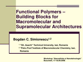 Functional Polymers   Building Blocks for Macromolecular and Supramolecular Architectures