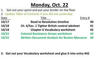 Monday ,  Oct.  22
