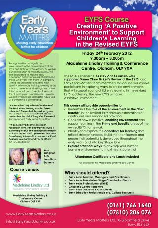 EYFS Course Creating  �A Positive Environment� to Support Children�s Learning