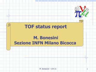 TOF status report M. Bonesini Sezione INFN Milano Bicocca