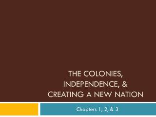 The Colonies, Independence, &  Creating a New Nation