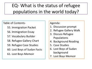 EQ- What is the status of refugee populations in the world today?