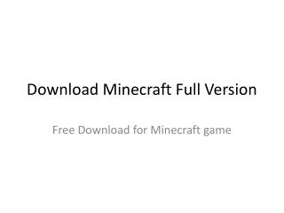 Download Minecraft Full Version