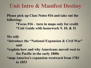 Unit Intro & Manifest Destiny