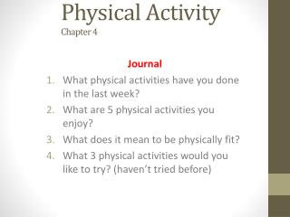 Physical Activity Chapter 4
